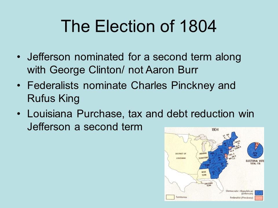 The Election of 1804 Jefferson nominated for a second term along with George Clinton/ not Aaron Burr.