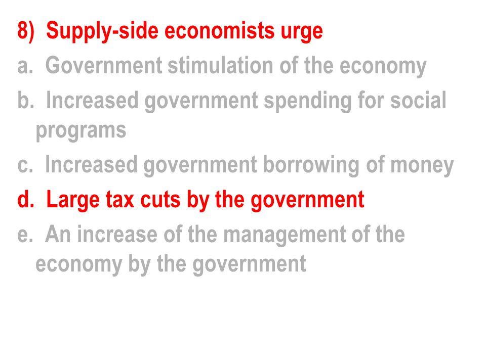 8) Supply-side economists urge a