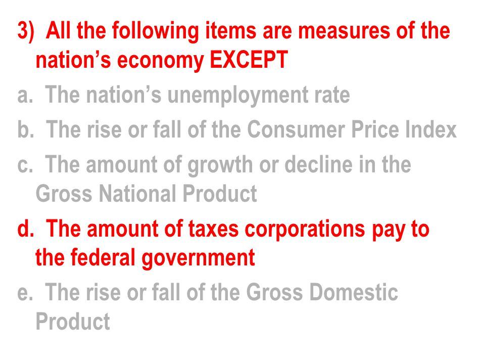 3) All the following items are measures of the nation's economy EXCEPT a.