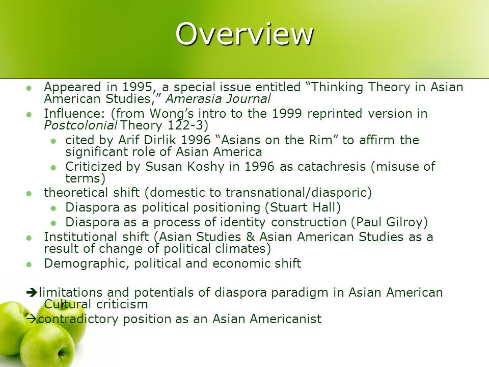 Overview Appeared in 1995, a special issue entitled Thinking Theory in Asian American Studies, Amerasia Journal.