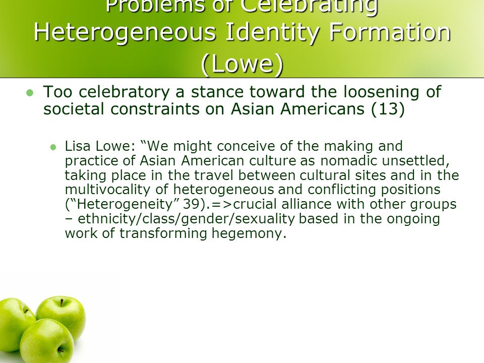 Problems of Celebrating Heterogeneous Identity Formation (Lowe)