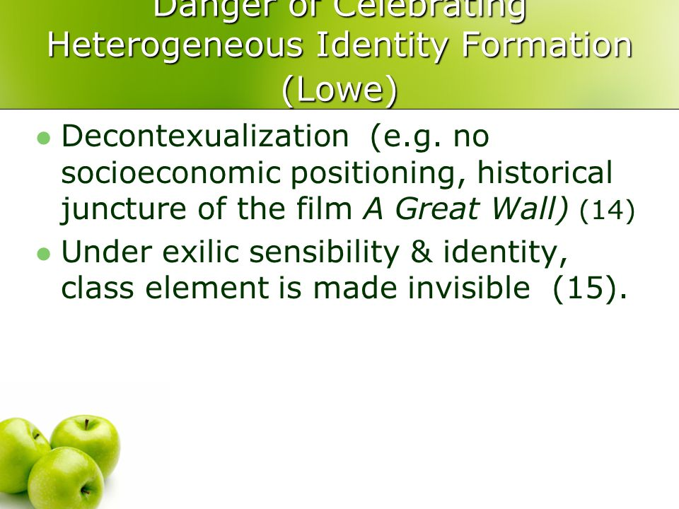 Danger of Celebrating Heterogeneous Identity Formation (Lowe)