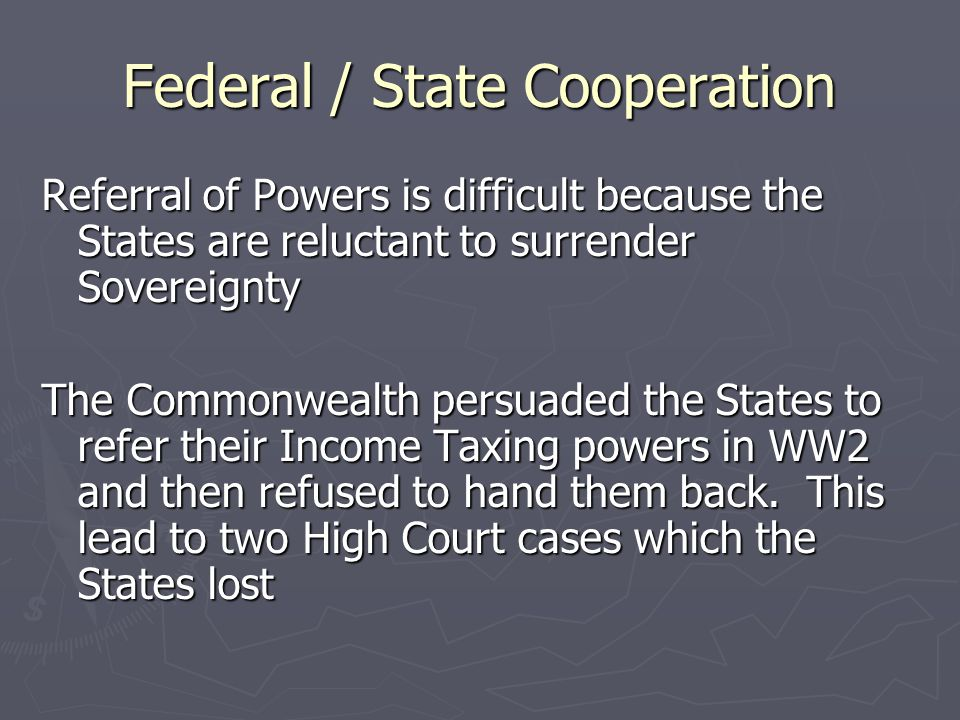 Federal / State Cooperation