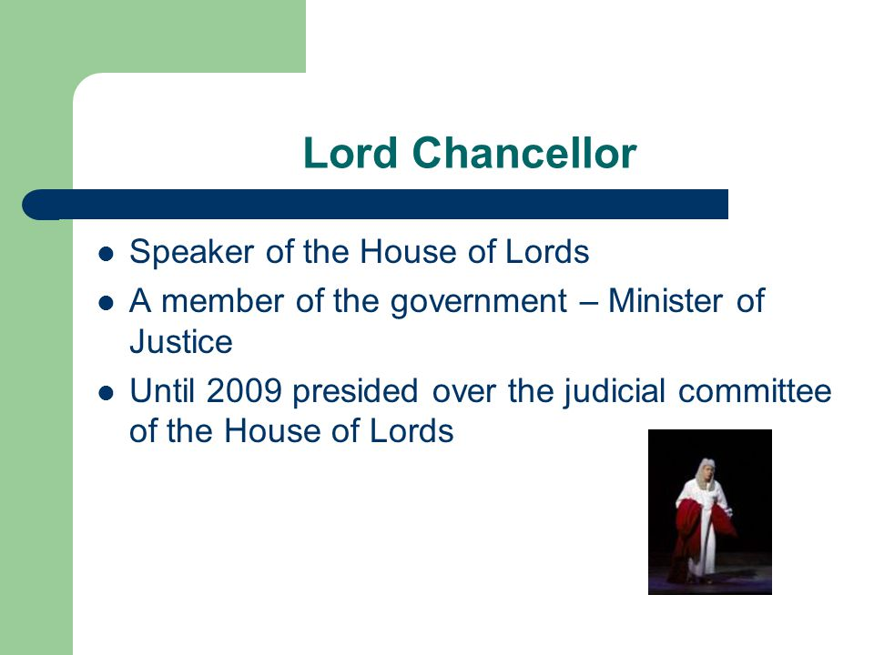 Lord Chancellor Speaker of the House of Lords