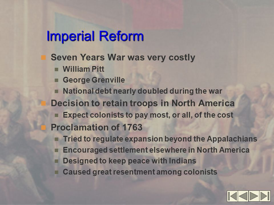 Imperial Reform Seven Years War was very costly