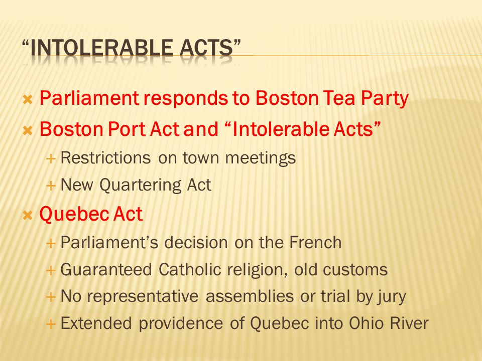 intolerable acts Parliament responds to Boston Tea Party