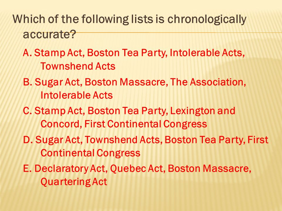 Which of the following lists is chronologically accurate