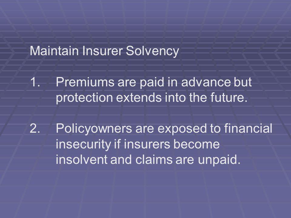 Maintain Insurer Solvency