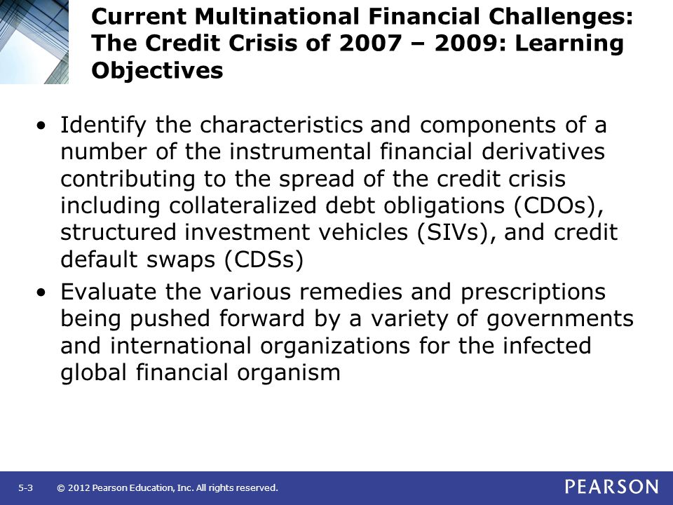 Current Multinational Financial Challenges: The Credit Crisis of 2007 – 2009: Learning Objectives