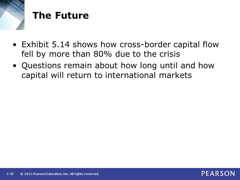 The Future Exhibit 5.14 shows how cross-border capital flow fell by more than 80% due to the crisis.
