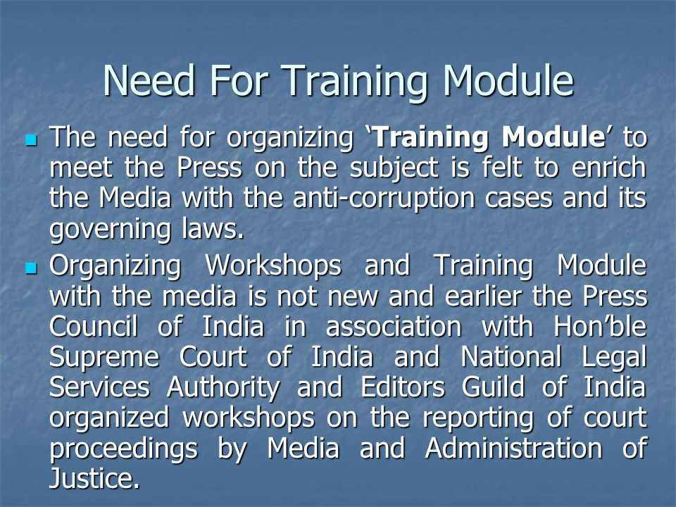 Need For Training Module