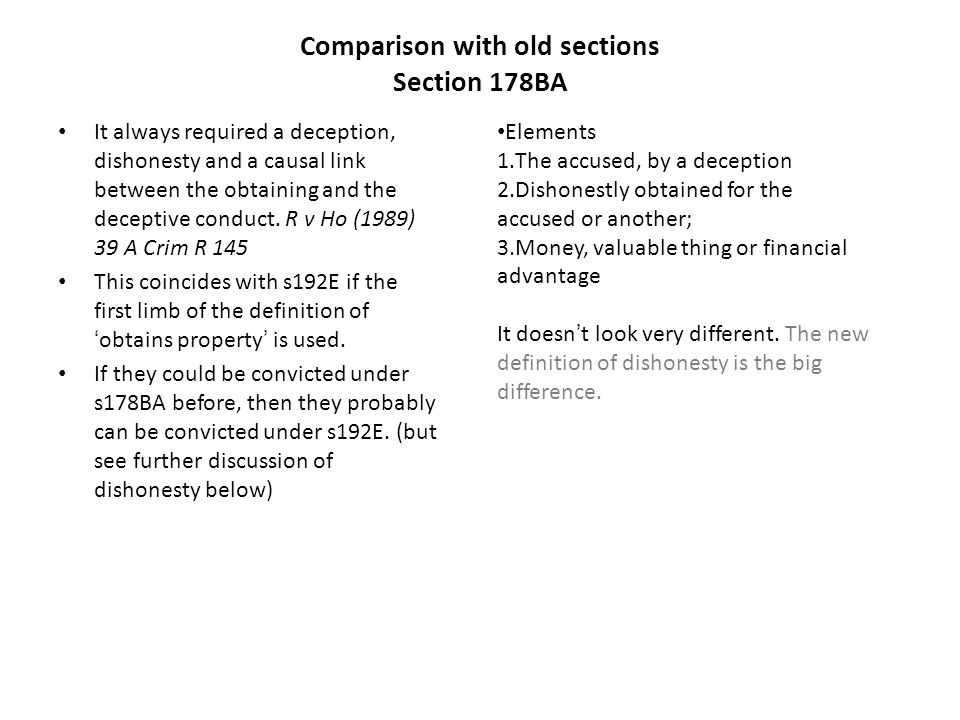 Comparison with old sections Section 178BA