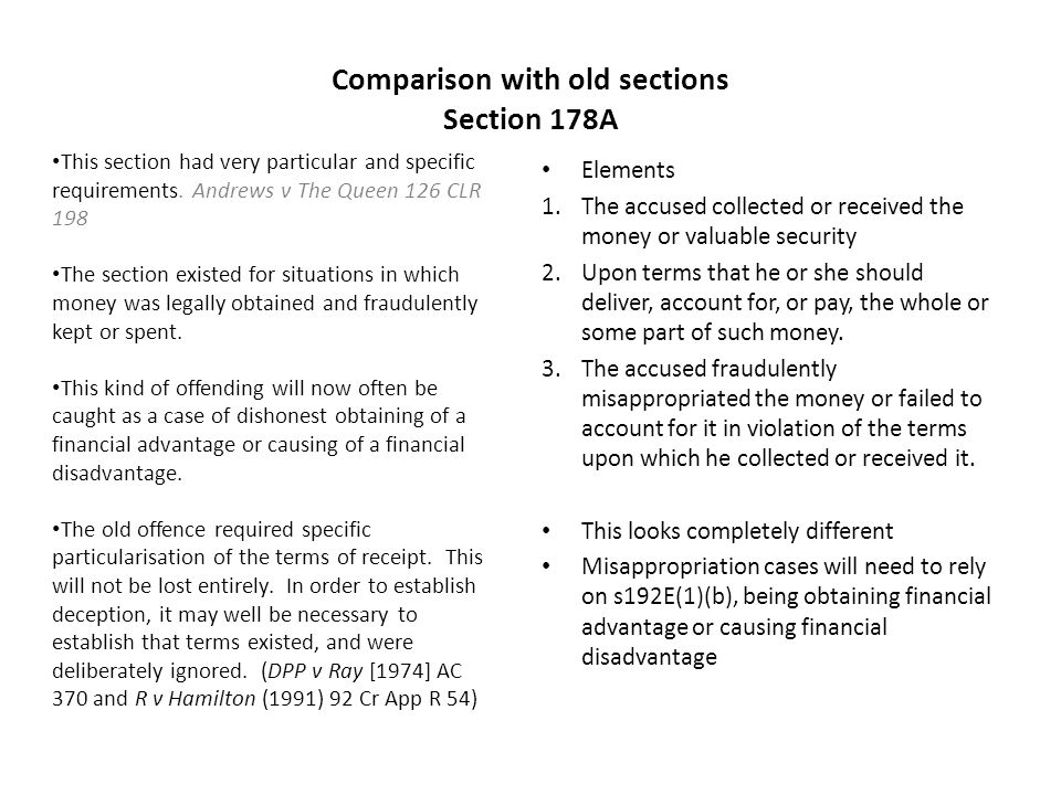 Comparison with old sections Section 178A
