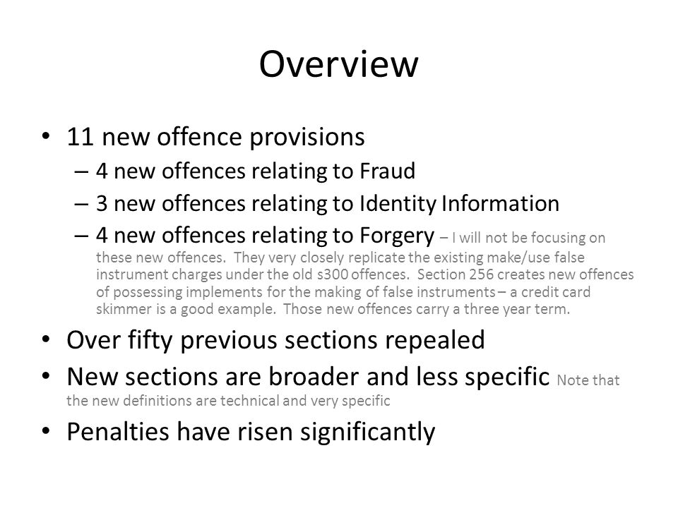 Overview 11 new offence provisions