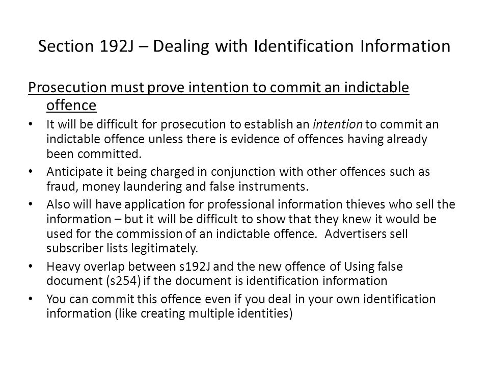 Section 192J – Dealing with Identification Information