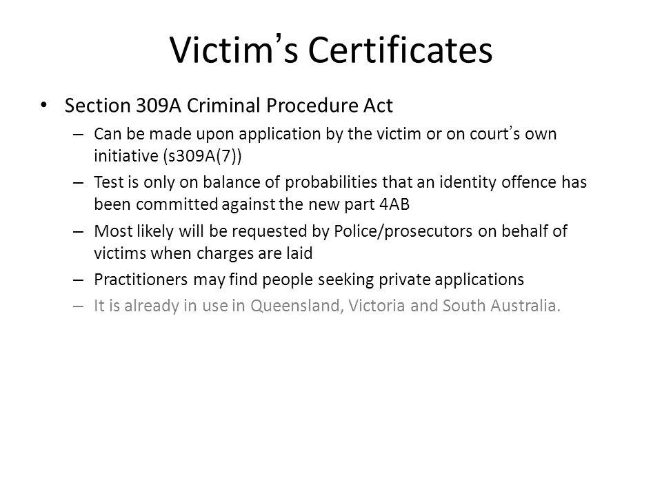 Victim's Certificates