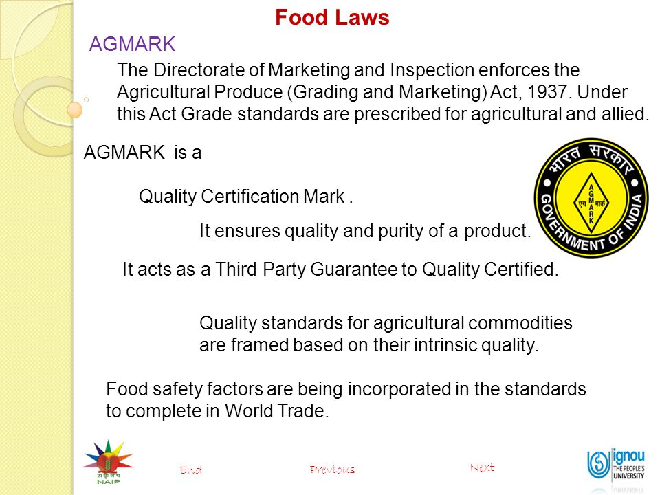 Food Laws AGMARK.