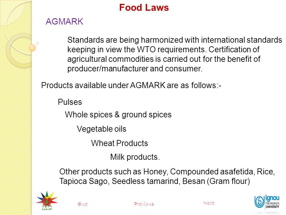 Food Laws AGMARK.