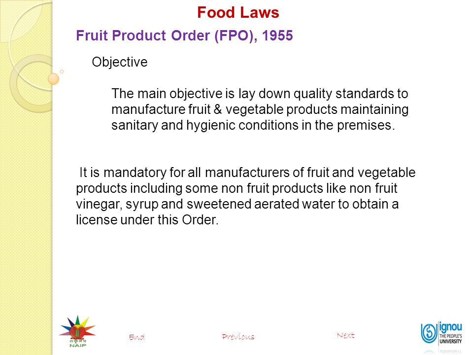 Food Laws Fruit Product Order (FPO), 1955 Objective