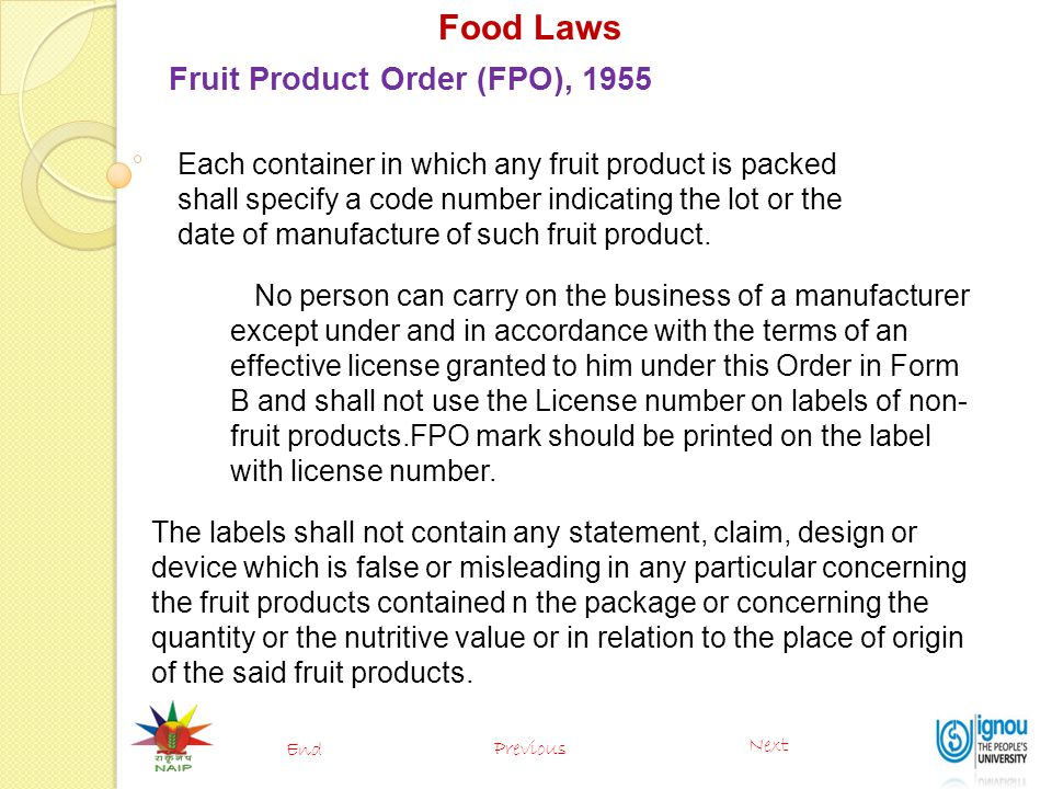 Food Laws Fruit Product Order (FPO), 1955
