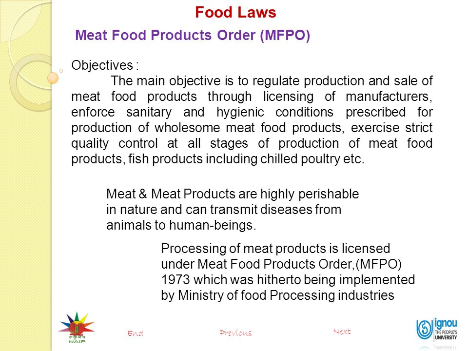 Food Laws Meat Food Products Order (MFPO) Objectives :