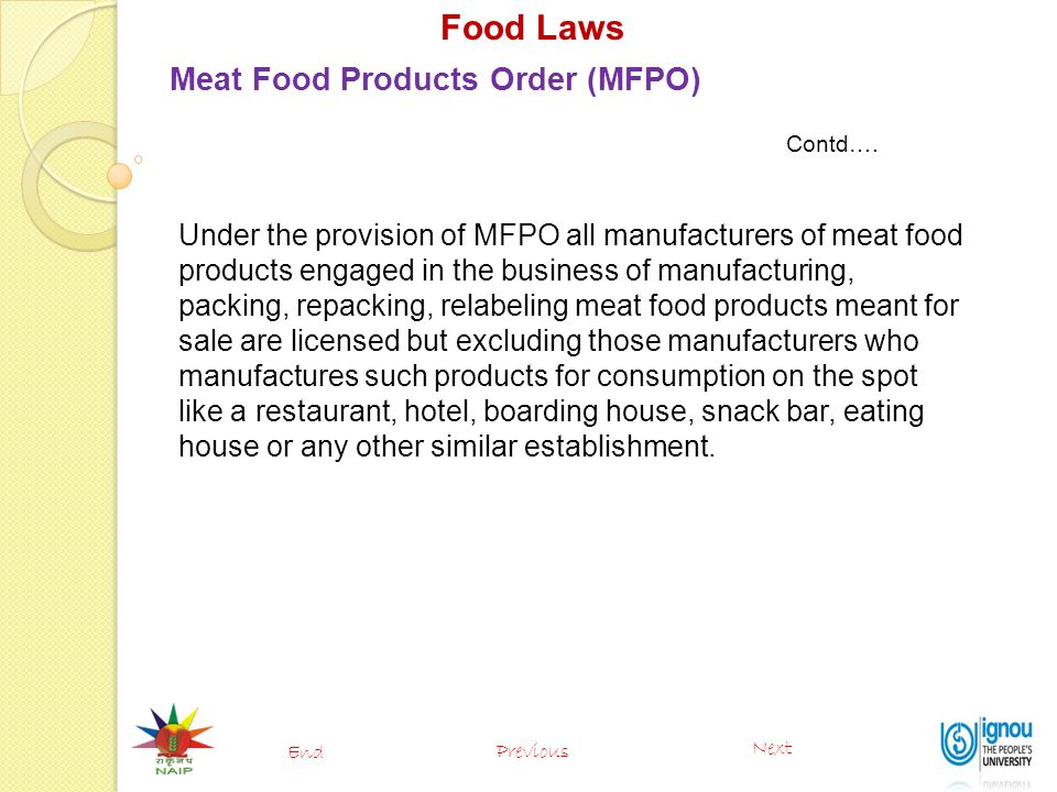 Food Laws Meat Food Products Order (MFPO)