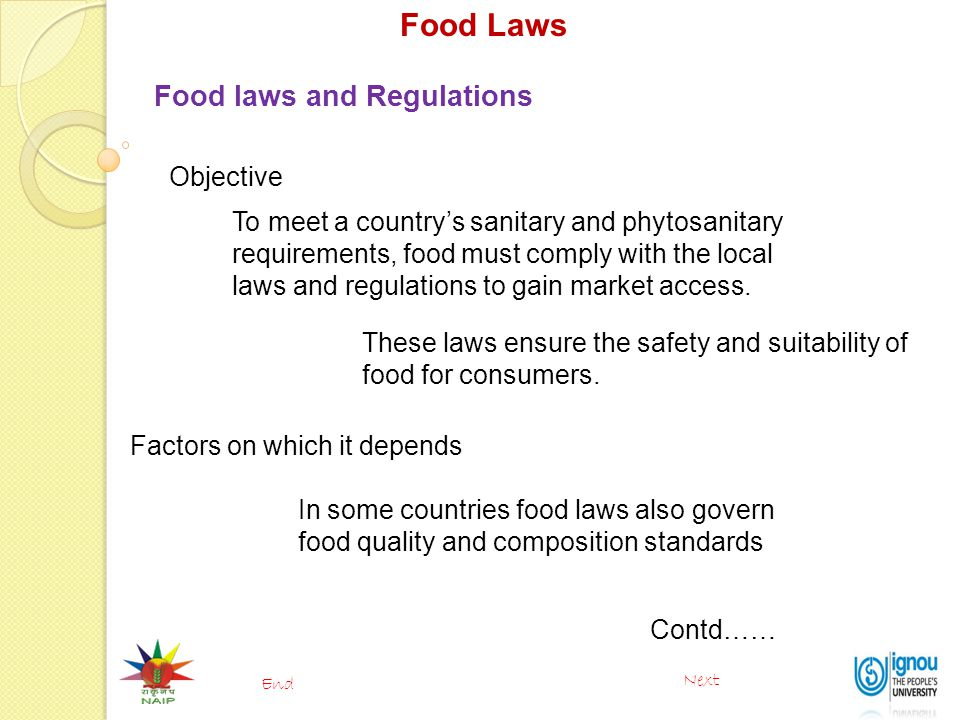 Food Laws Food laws and Regulations Objective