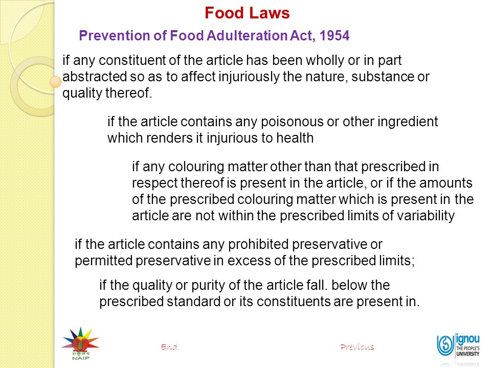 Food Laws Prevention of Food Adulteration Act, 1954
