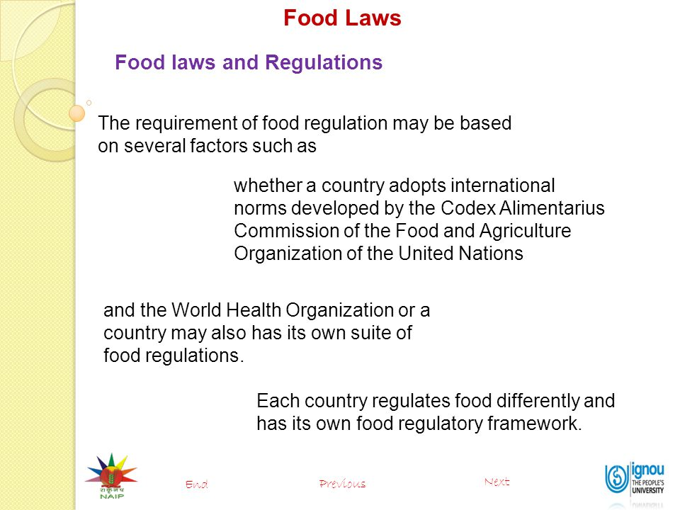 Food Laws Food laws and Regulations