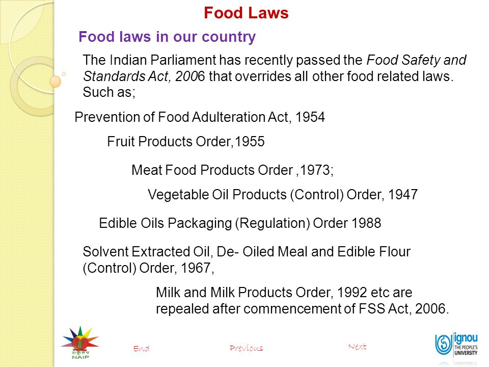 Food Laws Food laws in our country