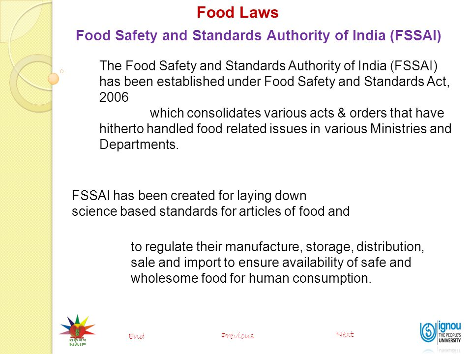 Food Laws Food Safety and Standards Authority of India (FSSAI)