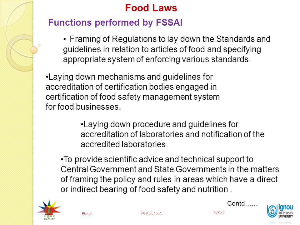 Food Laws Functions performed by FSSAI