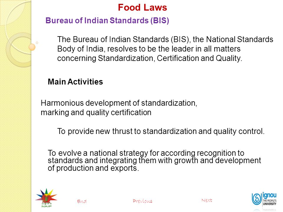 Food Laws Bureau of Indian Standards (BIS)