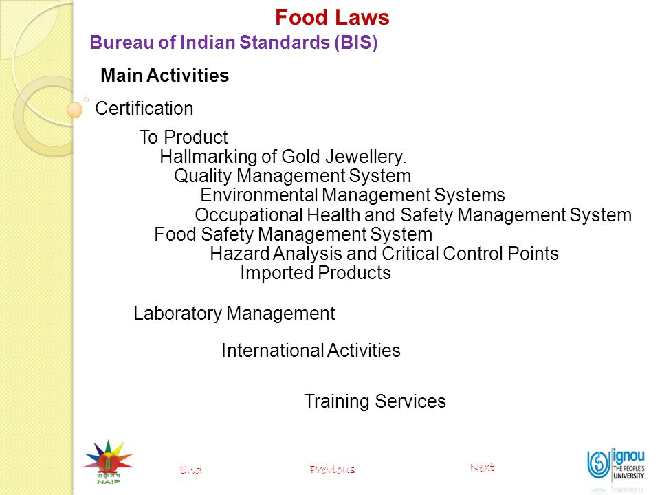 Food Laws Bureau of Indian Standards (BIS) Main Activities
