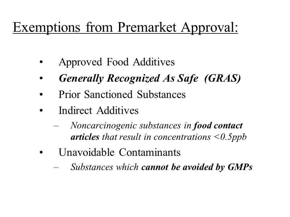 Exemptions from Premarket Approval: