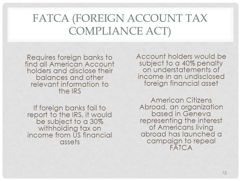 FATCA (Foreign Account Tax Compliance Act)