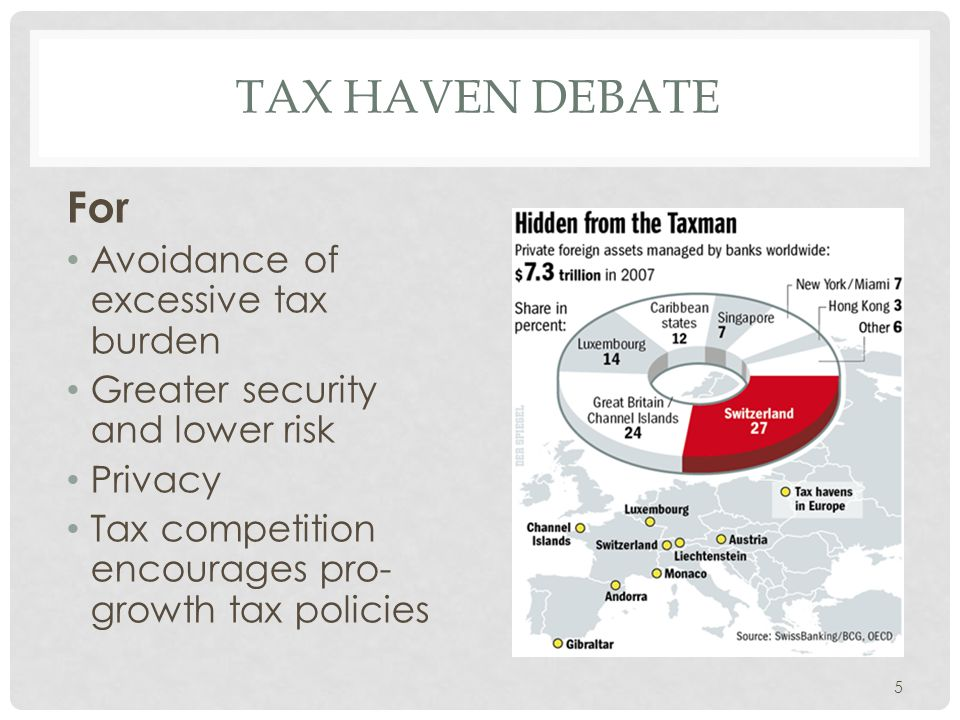 Tax haven Debate For Avoidance of excessive tax burden
