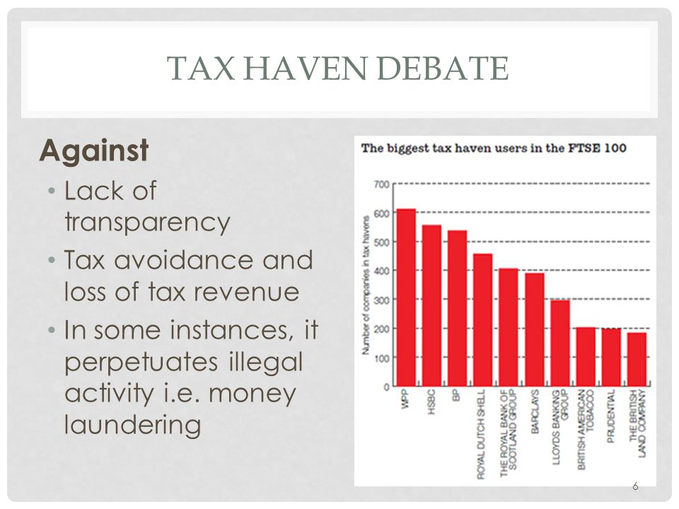 Tax haven Debate Against Lack of transparency