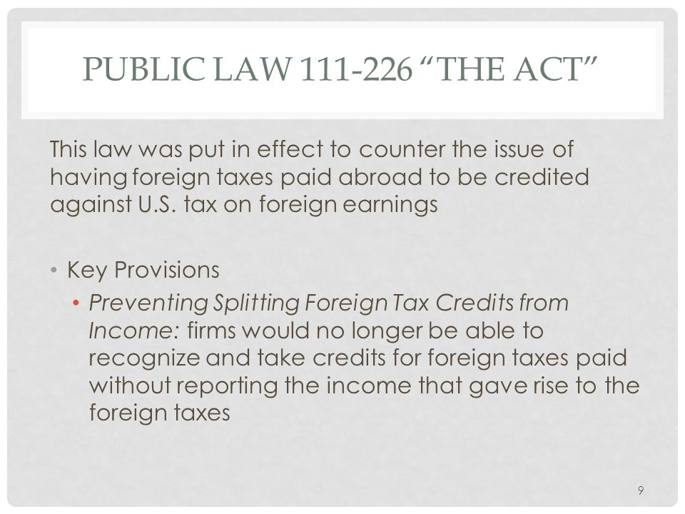 Public law 111-226 The act