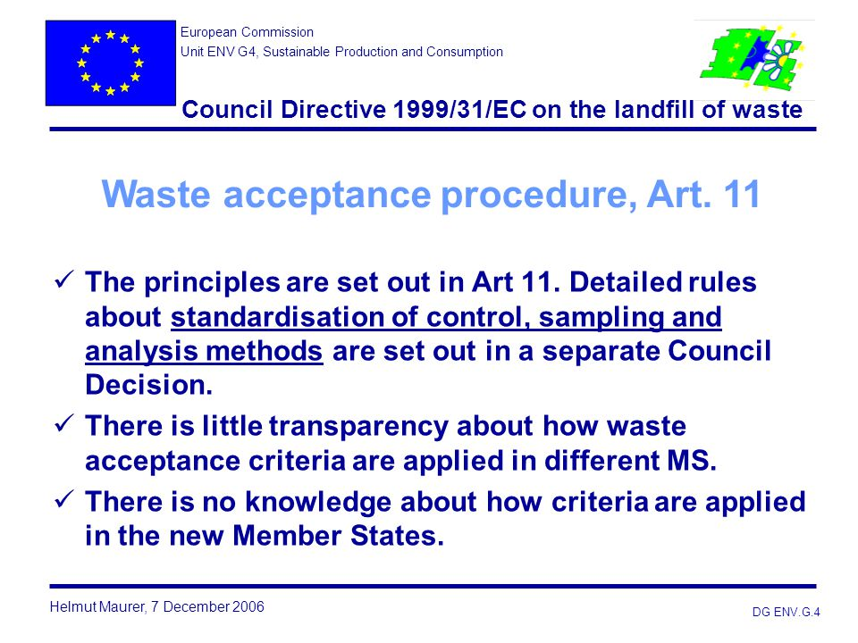 Council Directive 1999/31/EC on the landfill of waste