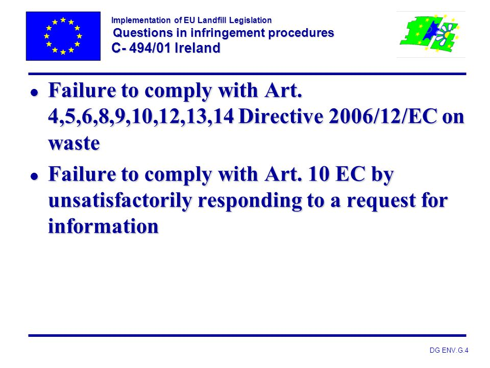 Implementation of EU Landfill Legislation Questions in infringement procedures C- 494/01 Ireland