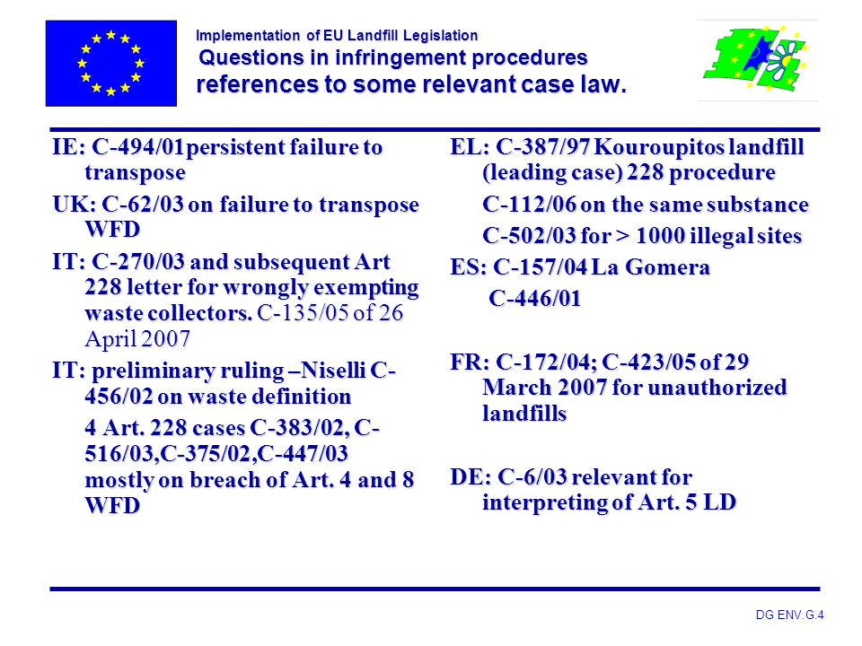 IE: C-494/01persistent failure to transpose