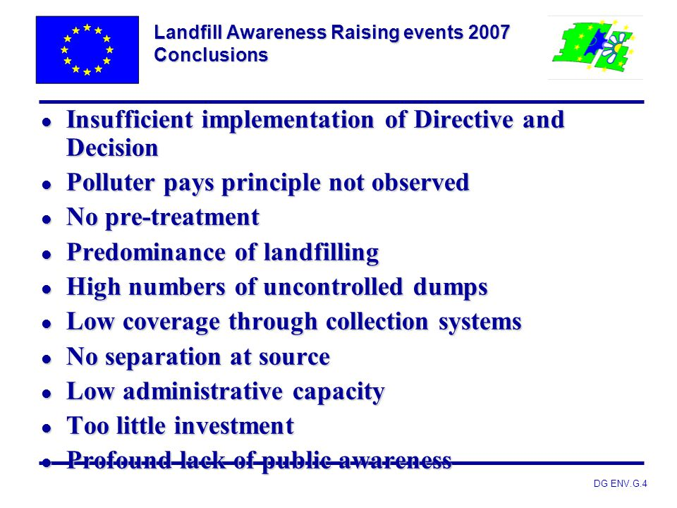 Landfill Awareness Raising events 2007 Conclusions