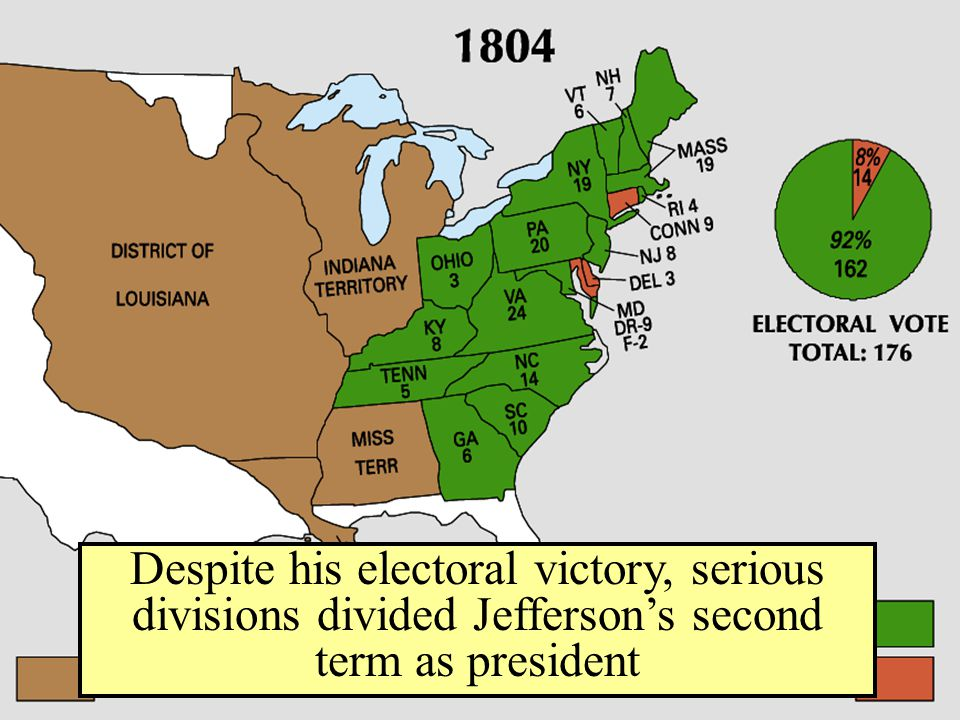 Despite his electoral victory, serious divisions divided Jefferson's second term as president