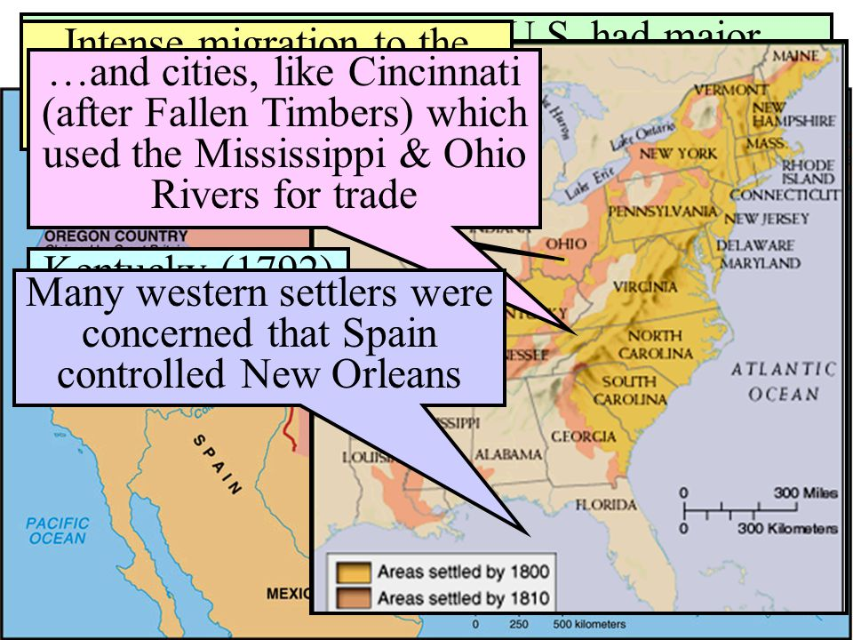 Many western settlers were concerned that Spain controlled New Orleans