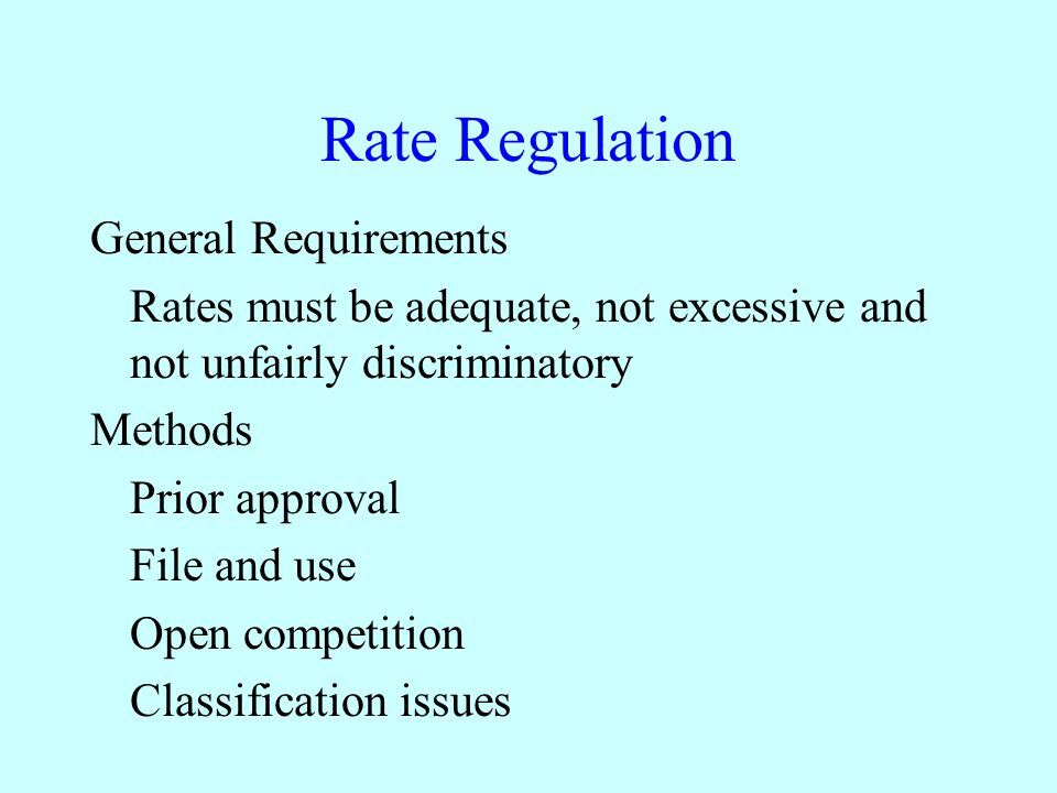 Rate Regulation General Requirements