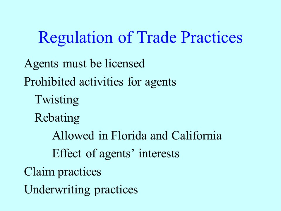 Regulation of Trade Practices