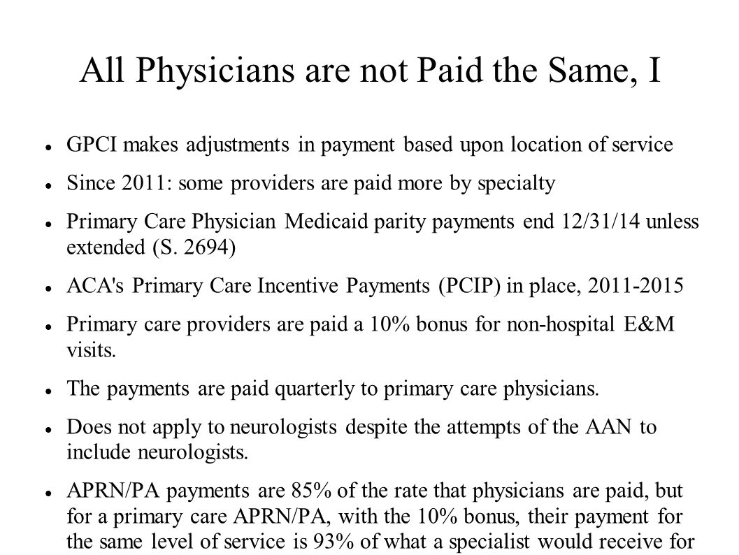 All Physicians are not Paid the Same, I