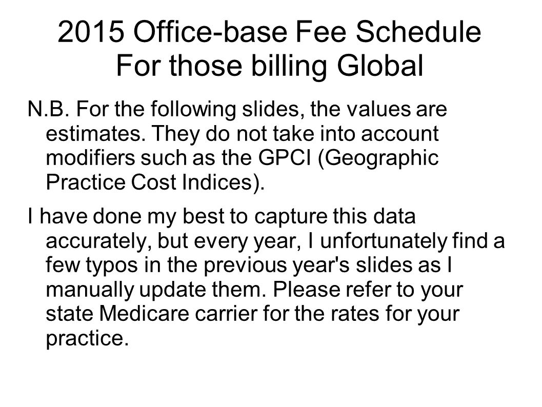 2015 Office-base Fee Schedule For those billing Global