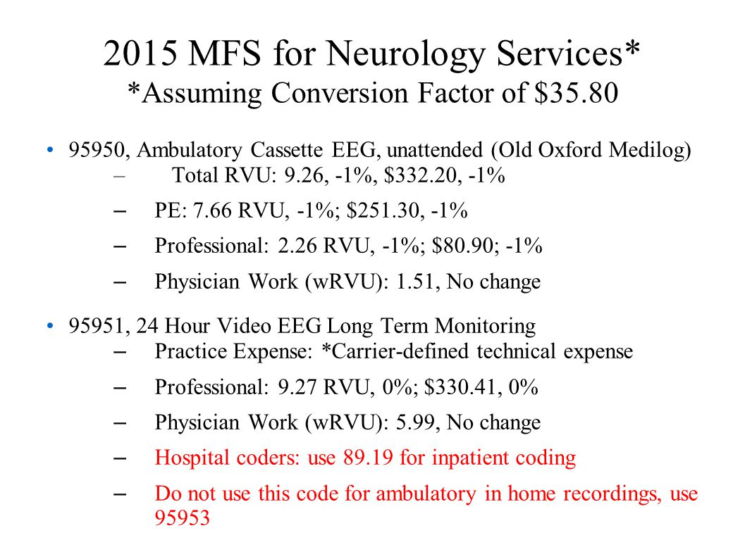 2015 MFS for Neurology Services* *Assuming Conversion Factor of $35.80